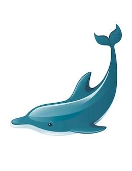 Niebieski delfin kreskówka morze zwierzę projekt płaski wektor ilustracja na białym tle.