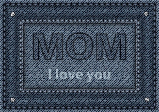 Niebieski denimowy plakat dla mamy