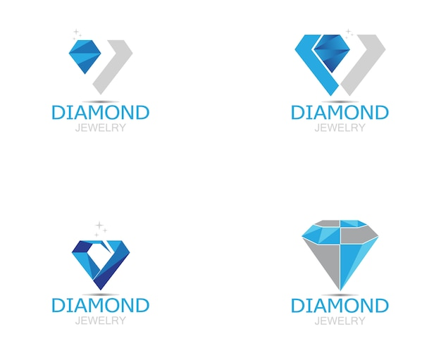 Niebieski diament biżuteria logo wektor