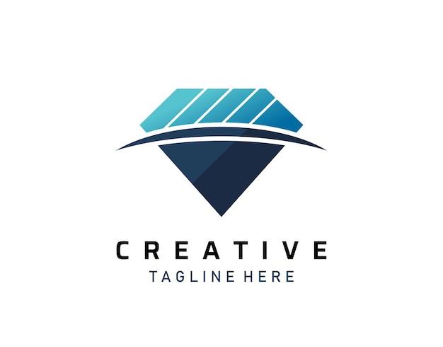Niebieski diament logo design, ikona kamienia klejnotów vector