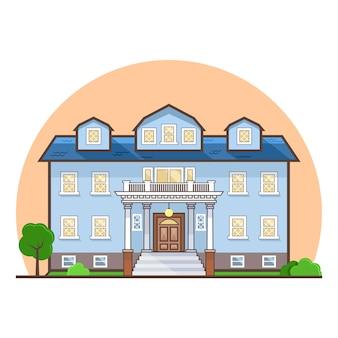 Niebieski dom płaski