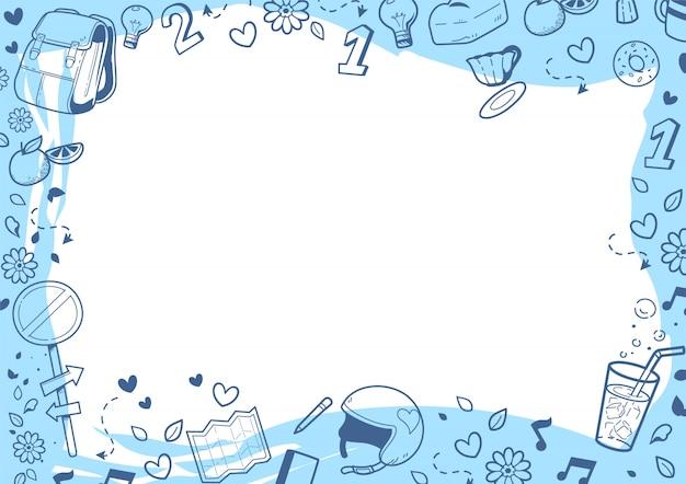 Niebieski doodle akcesoria rama z białym tłem