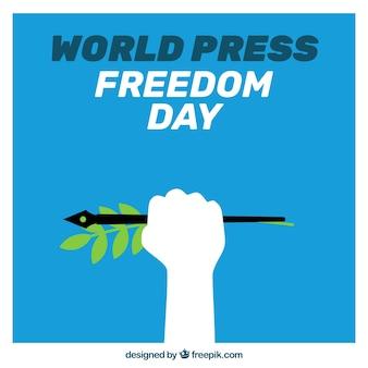 Niebieski dzień tle wolności w prasie