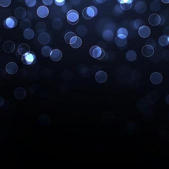 Niebieski efekt bokeh na czarnym tle. lśniące magiczne cząsteczki.