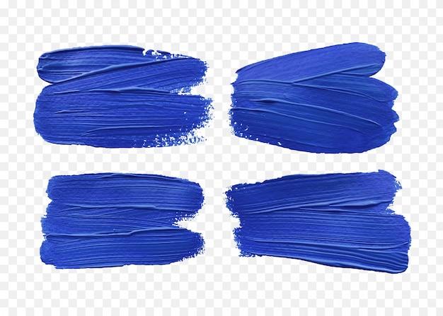 Niebieski efekt pociągnięcia pędzlem na białym tle
