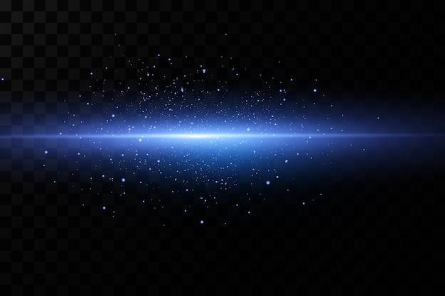 Niebieski efekt świetlny wiązki lasera.