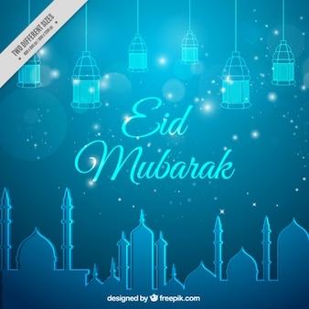 Niebieski eid mubarak tle