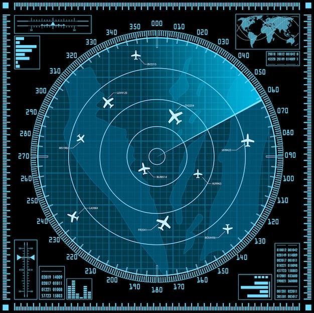 Niebieski ekran radaru z samolotami