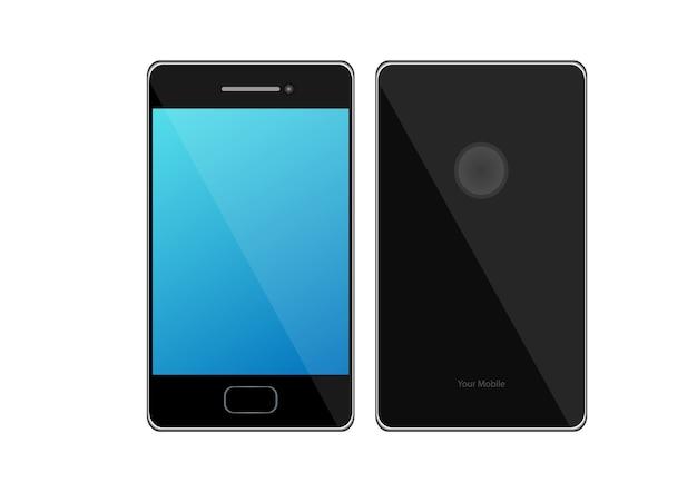 Niebieski ekran telefonu komórkowego na białym tle