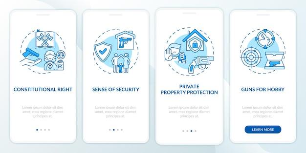 Niebieski ekran wprowadzający aplikację mobilną z koncepcjami dotyczącymi broni. przepisy dotyczące broni. kroki przejścia przepisów dotyczących broni palnej instrukcje graficzne. szablon ui z kolorowymi ilustracjami rgb