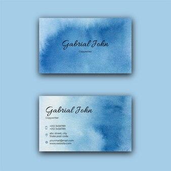 Niebieski elegancki szablon wizytówki akwarela