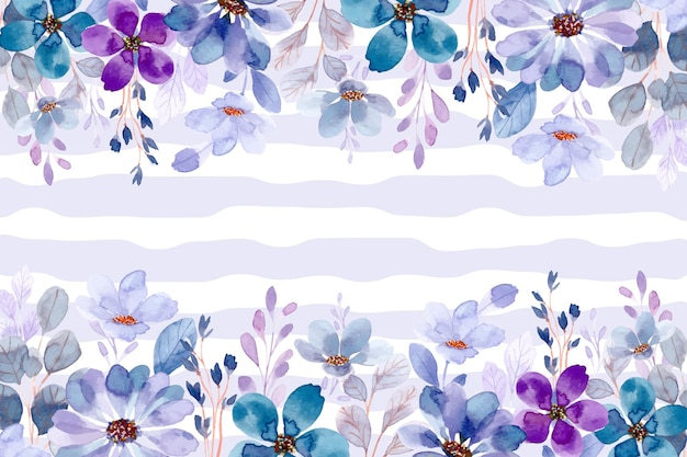 Niebieski fioletowy kwiat ogród tło z akwarelą