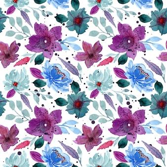 Niebieski fioletowy kwiatowy wzór akwarela