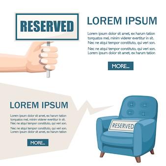 Niebieski fotel i ręka z zastrzeżonym znakiem