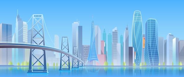 Niebieski futurystyczny panoramę miasta z wieżowcami i mostem