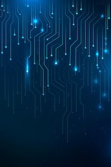 Niebieski futurystyczny wektor technologii sieciowej