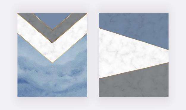 Niebieski geometryczny wzór z kształtami trójkątów i akwarelą i marmurową teksturą pędzla.