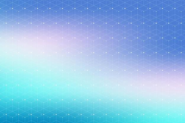 Niebieski geometryczny wzór z połączonymi liniami i kropkami. łączność w tle graficznym. nowoczesne, stylowe, wielokątne związki komunikacyjne tła dla twojego projektu. splot linii. ilustracja wektorowa.