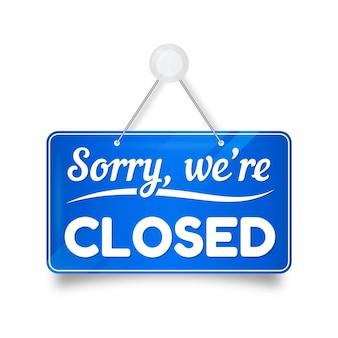 Niebieski gradient przepraszamy, zamknięta tablica