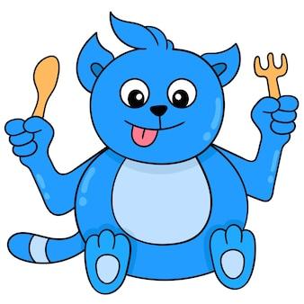 Niebieski gruby kot trzyma sztućce czekając na jedzenie, wektor ilustracja sztuki. doodle ikona obrazu kawaii.