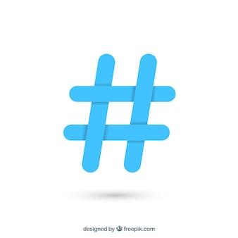 Niebieski hashtag design