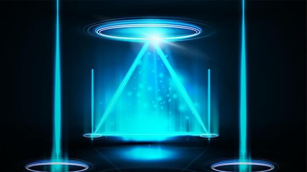 Niebieski hologram cyfrowy, neonowy trójkąt obramowanie z miejscem na kopię i błyszczącymi pierścieniami w ciemnym pokoju. neonowa trójkątna ramka na ciemnym tle