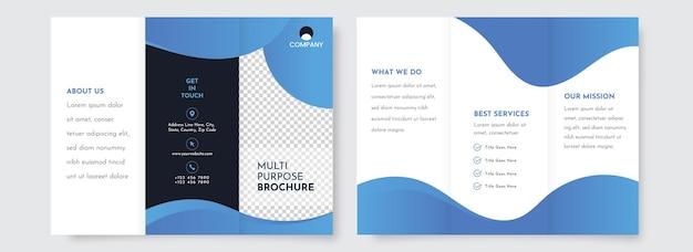 Niebieski i biały kolor tri-fold broszura projekt szablonu z dwustronną.