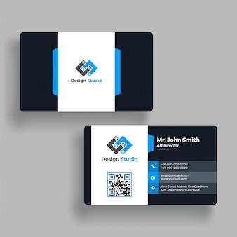 Niebieski i biały poziomej, wizytówki z przodu iz powrotem prezentacji.