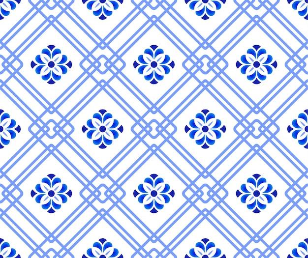 Niebieski i biały wzór kwiatowy