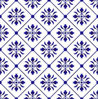 Niebieski i biały wzór płytek wektorowych