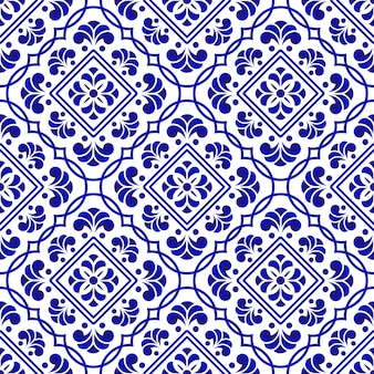 Niebieski i biały wzór płytki
