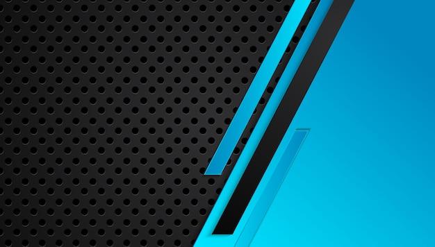 Niebieski i czarny abstrakcyjny układ metaliczny rama projekt technologii innowacji koncepcja tło
