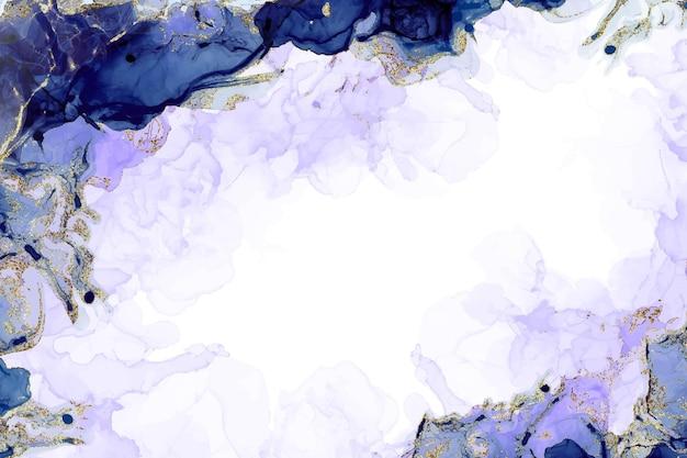 Niebieski i fioletowy tusz alkoholowy kolorowe tło akwarela brokat