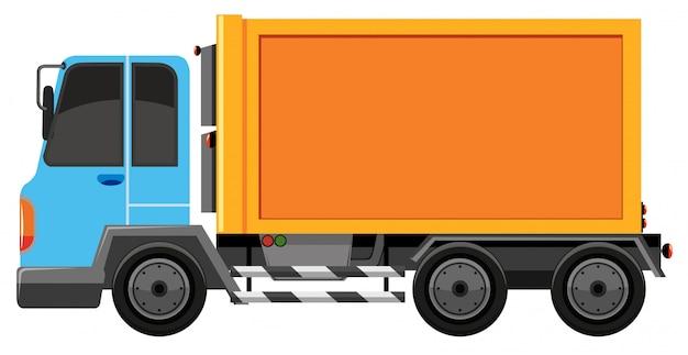 Niebieski i pomarańczowy samochód na białym tle
