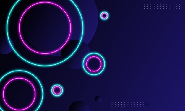 Niebieski i różowy neonowy okrąg z efektem świetlnym w tle. tło dla tapety.
