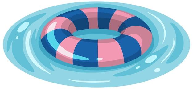 Niebieski i różowy pierścień do pływania w paski w izolowanej wodzie