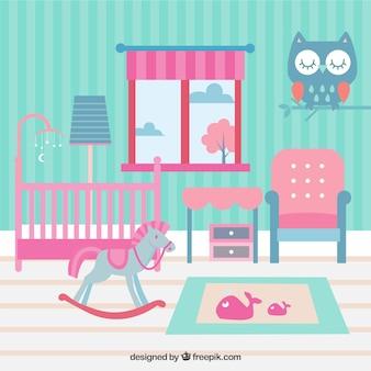 Niebieski i różowy pokój dla dziecka