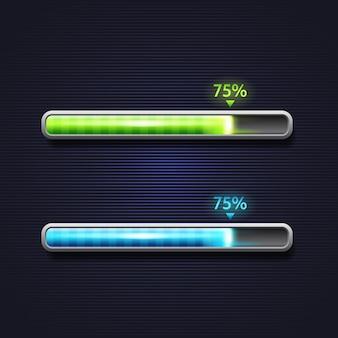 Niebieski i zielony pasek postępu, ładowanie, szablon interfejsu aplikacji