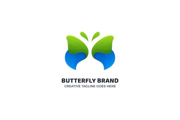 Niebieski i zielony piękny motyl logo szablon