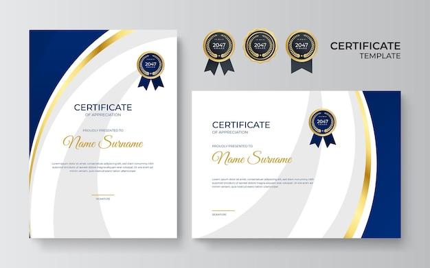 Niebieski i złoty certyfikat osiągnięcia szablonu ze złotą odznaką i obramowaniem. szablon certyfikatu ze złotym elementem dekoracji. ukończenie dyplomu projektowania, nagroda. ilustracja wektorowa