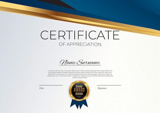 Niebieski i złoty certyfikat osiągnięcia szablonu zestaw tło z złotą odznaką i obramowaniem.