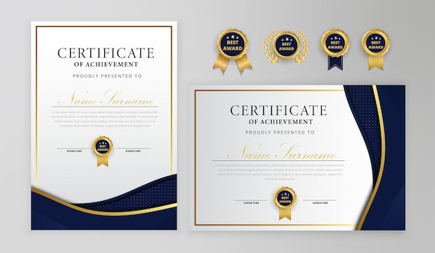Niebieski i złoty certyfikat z odznakami i szablonem granicy