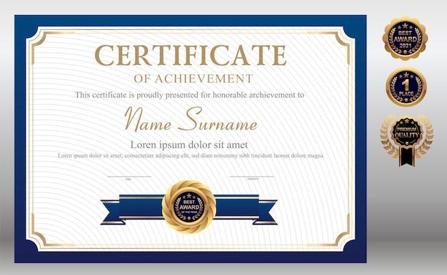 Niebieski i złoty szablon certyfikatu