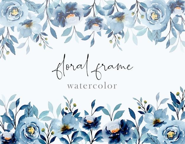 Niebieski indygo akwarela kwiatowy streszczenie tło