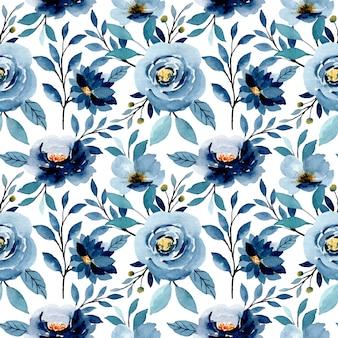 Niebieski indygo akwarela kwiatowy wzór