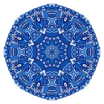 Niebieski indyjski kwiatowy ornament paisley etniczna mandala z nadrukiem kwiatowym medalion
