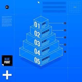 Niebieski infografika piramidalną szablon