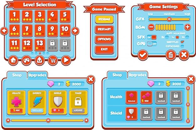 Niebieski interfejs graficzny gry