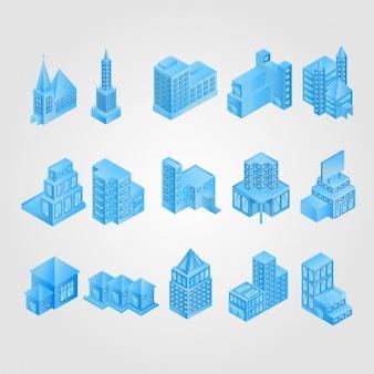 Niebieski izometryczny budynku collection
