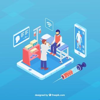Niebieski izometryczny online koncepcja lekarza